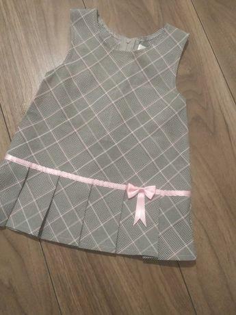 Sukienka w kratkę Szaro różowa 74 baby club c&a