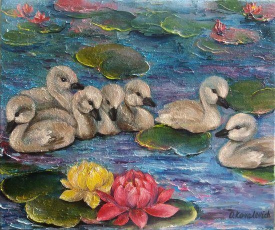 Картина маслом Маленькие лебеди