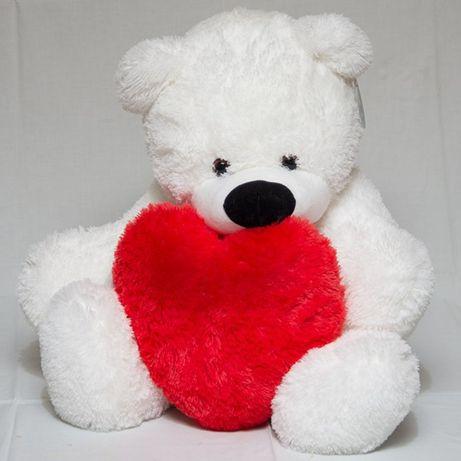 Плюшевый мишка с сердцем лучший подарок! Рост 77 см. мягкие игрушки