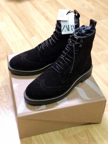 Коричневі шкіряні черевики від Zara оригінал