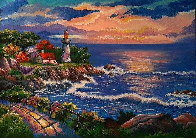 Морской пейзаж,картина,гуашь