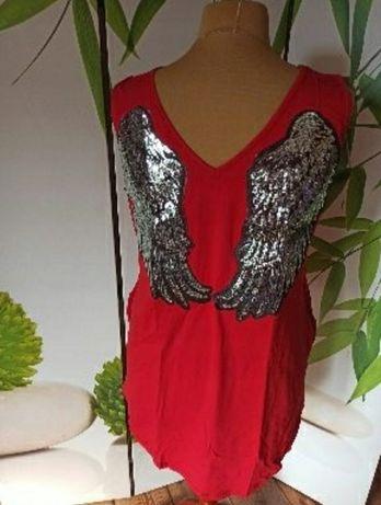 Nowa cudna tunika ze skrzydlami czerwona xxl asymetryczna