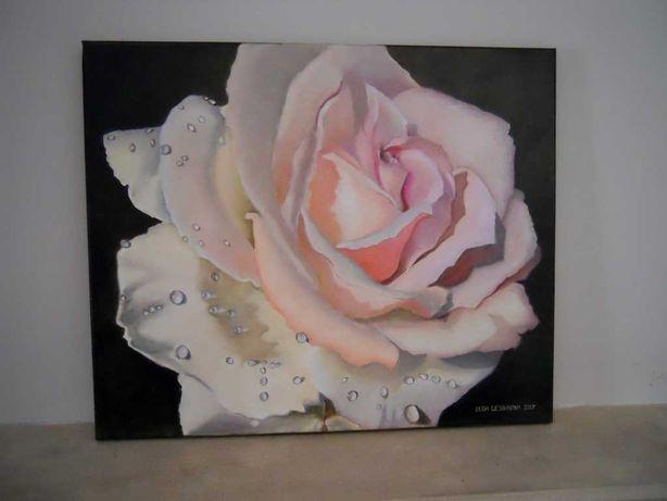 "Quadro óleo sobre tela ""Rosa molhada"""