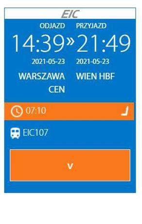 Bilet do Wiednia, 23 maja 2021, trasa Warszawa—Wiedeń (Wien Hbf)