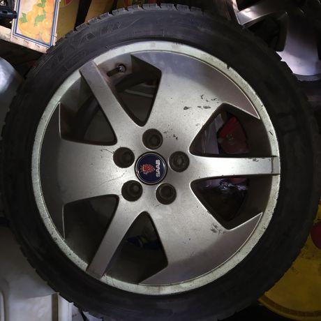 Низко профильные, SAAB 9-5, оригинальные, диски в месте с шинами.