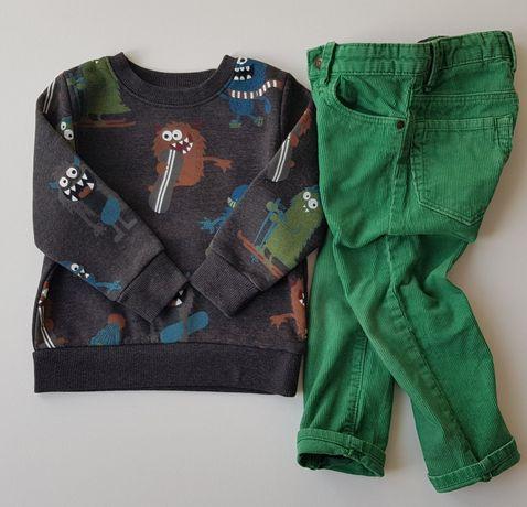 Sztruksy spodnie sztruksowe h&m 98 zielone