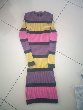 Śliczna sukienka w kolorowe paski firmy Amisu rozciagliwa