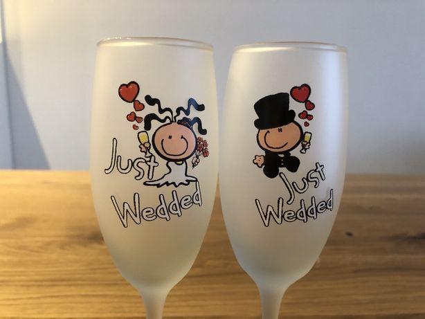 Nowe kieliszki just wedded dla nowożeńców do szampana i wina