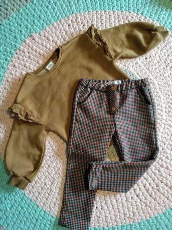 Komplet brązowa bluza Zara koronką i spodnie krata 104