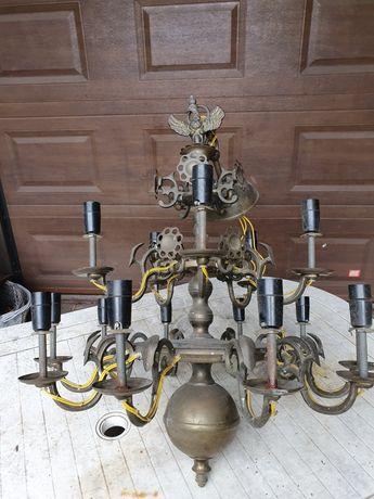 Żyrandol mosiądz 15 ramion stary Księstwo Warszawskie i 3 kinkiety