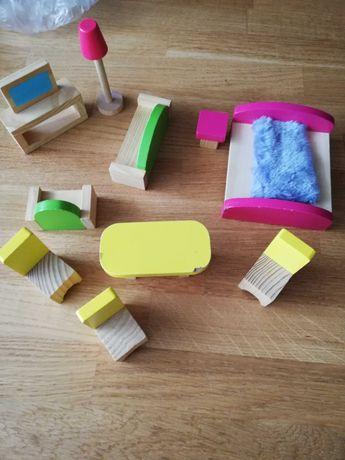 Drewniane meble mebelki dla lalek salon sypialnia jadalnia