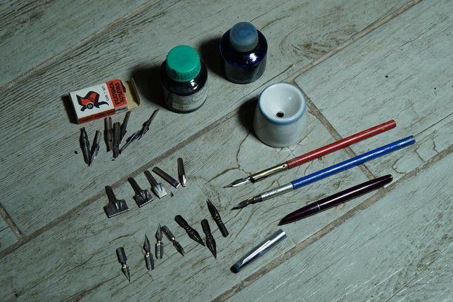 набор перьевая ручка чернильница тушь перья поршневая ручка чернила