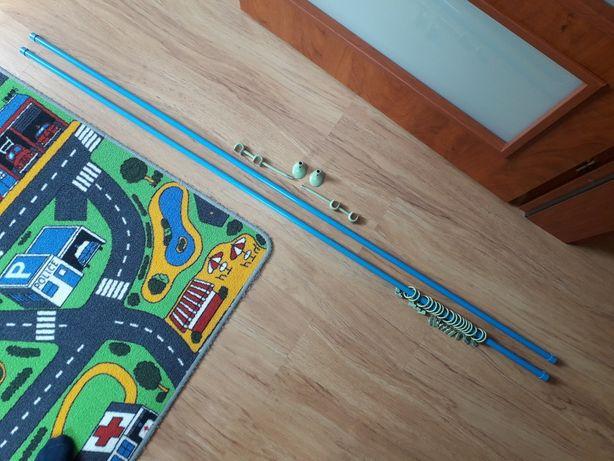 Karnisz dziecięcy dł. 164cm z zielonymi uchwytami i żabkami