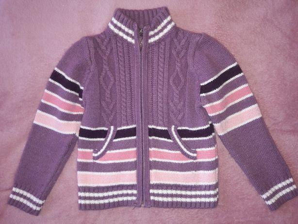 Теплая кофта кофточка на замочке на девочку 3-4 года плотная вязка