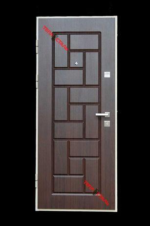 Двері вхідні ТЕПЛОСТАЛЬ (Н31 дуб темний)(Н32 тик світлий)(Р5)(86*205Л)