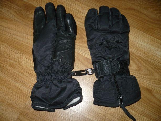 Перчатки лыжные женские черные с кожаной вставкой на ладони 7р.