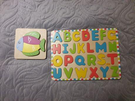 Drewniana układanka, puzzle, alfabet, nauka angielskiego