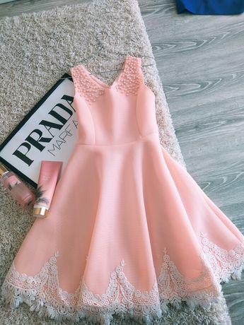 Платье розовое свободное пишное на лето с кружевом/ плаття сукня
