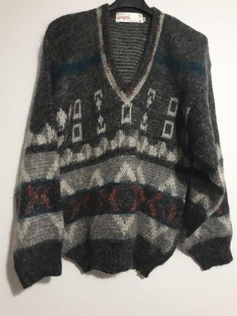 R.K. FASHION KNIT Sweter Serek Retro Vintage A'la Szetland Ciepły