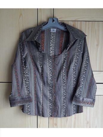 Bluzka / koszula damska L/40 brązowa hafty elegancka wyjściowa orient