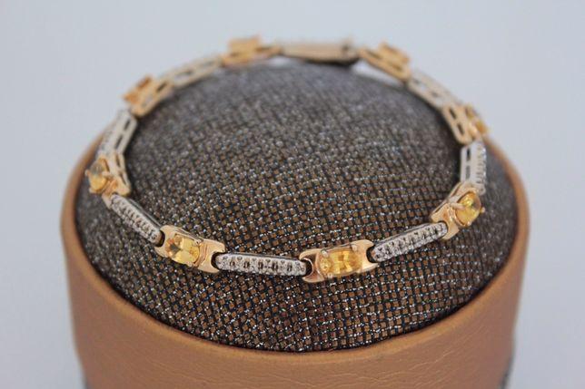Браслет из золота 14К с сапфирами и бриллиантами