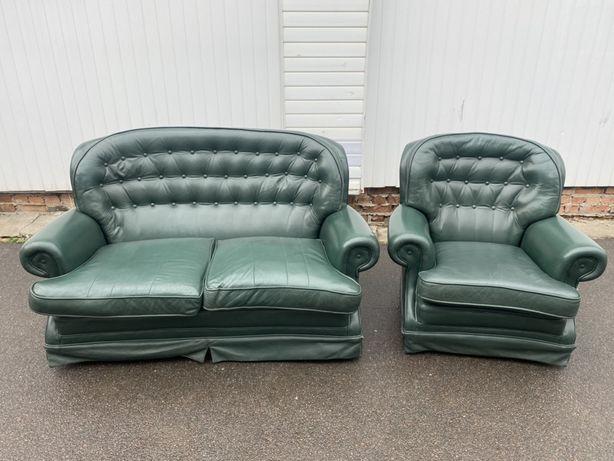 шкіряний комплект 2-1 + двохмісний диван