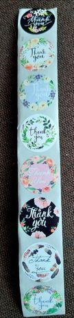 Samoprzylepna naklejka etykieta podziękowanie ślub chrzciny thank you