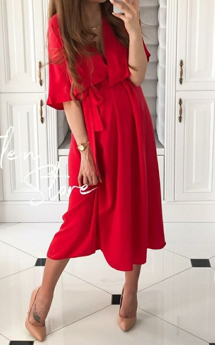 Sukienka midi na święta czerwona Warszawa - image 1