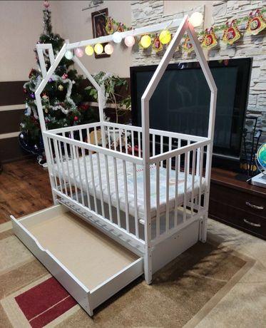 Детская кровать с маятником,детская кровать для новорождённого,1.20*60