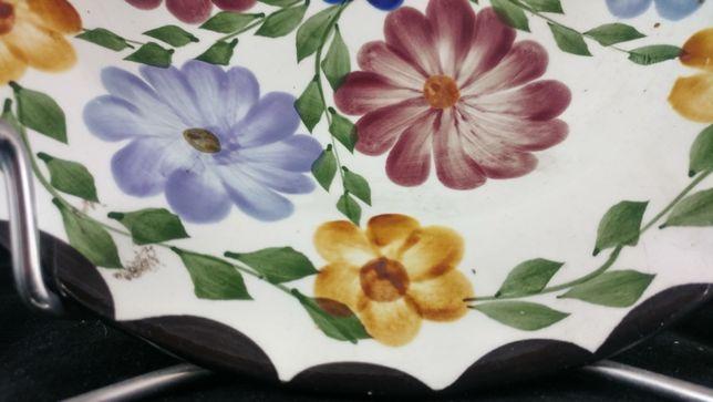 Włocławek PRZEDWOJENNY talerz kwiaty export RECZNIE MALOWANY unikat