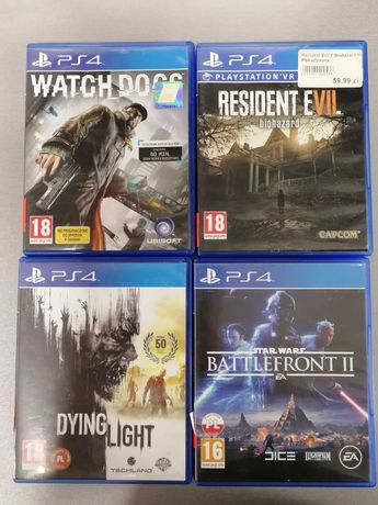 Gry na PS4:Dying Light,Star wars bttlefront 2,Resident evil,Watch_dogs