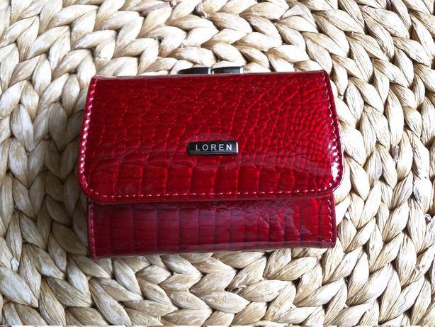 Portmonetka portfel damski czerwony skórzany