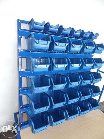Stalowy regał warsztatowy ścienny 31 pojemników ecobox