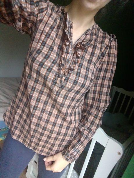 Bluzka w kratkr brązowa bufiaste rękawy