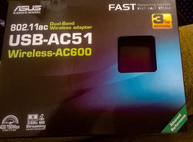 Karta wi-fi Asus USB 2.4 GHz i 5 GHz Nowa