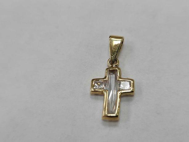 Delikatny złoty krzyżyk/ Cyrkonia/ 585/ 1.01 gram/ sklep Gdynia