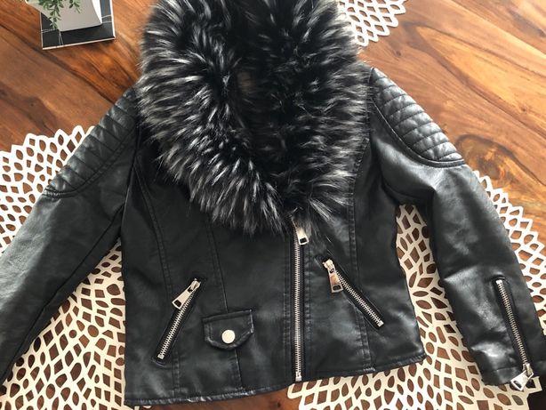 Ramoneska dla młodej modnisi, kurtka,skóra ocieplana 122/128