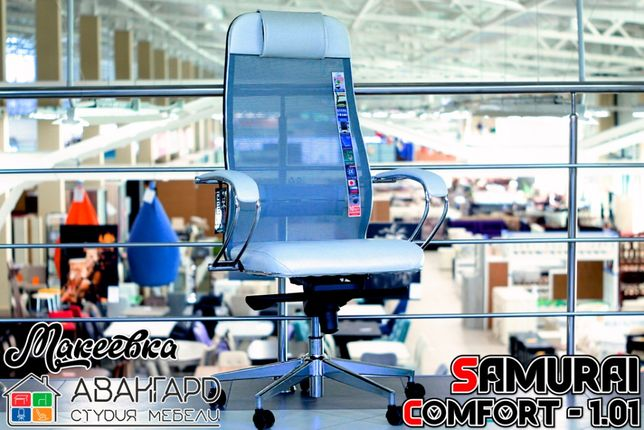 """Компьютерное офисное рабочее кожаное кресло с сеткой """"Samurai"""""""