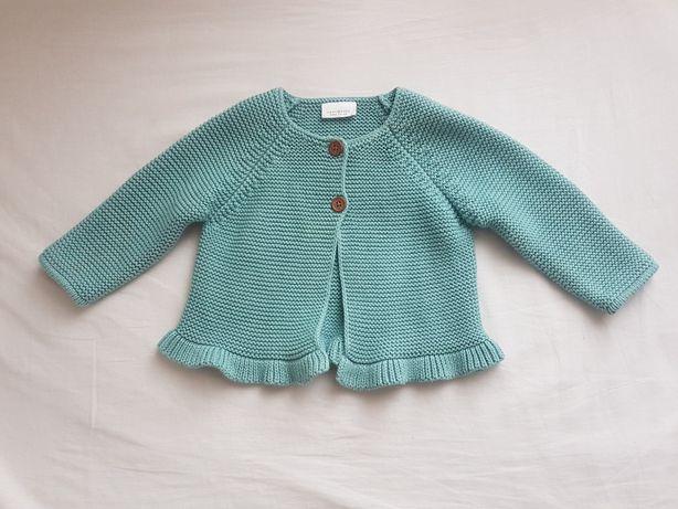 Sweterek Next 68 miętowy sweter cardigan narzutka 4-6 miesięcy