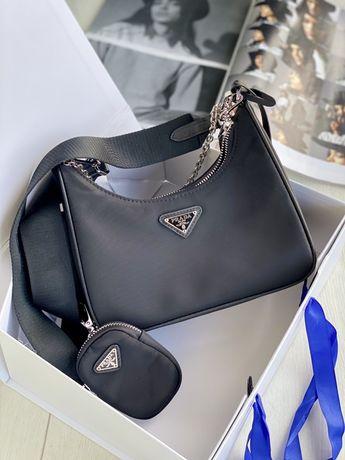 Женская сумка Prada Re-Edition нейлоновая сумка черная Прада с сумкой
