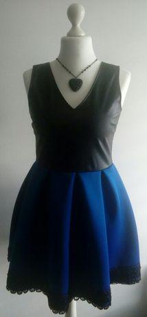 Chabrowa sukienka z pianki, eko skóra koronka rozkloszowana