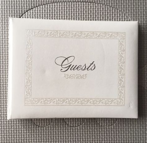Księga gości po angielsku Guest Book biała skóra ślub wesele