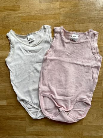 Body H&M bez rękawków 2 szt podkoszulki dla dziewczynki rozmiar 74
