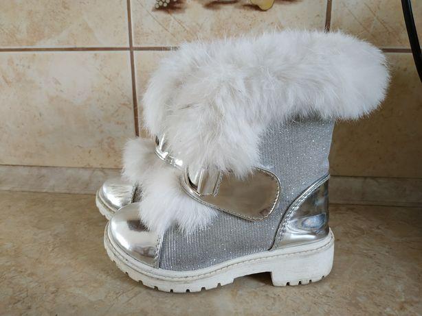 Buciki zimowe biało srebrne z futerkiem 23