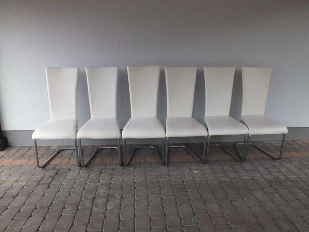 6 krzeseł skórzanych zestaw w kolorze ecru
