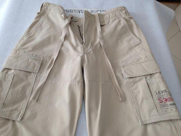 Calças Levis Homem Beges Bolsos Laterais Tamanho Cintura 42,5cm