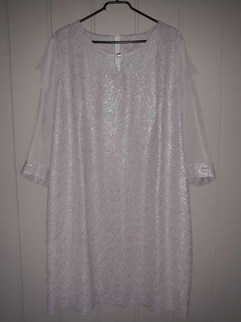 Sukienka szaro srebrna 52 wycięcia