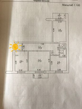 Продам трёхкомнатную комнатную квартиру по улице Пухова.