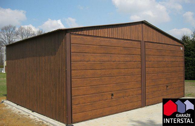 Garaże Blaszane ORZECH Garaż Blaszany 6x5 Blaszaki Drewnopodobne