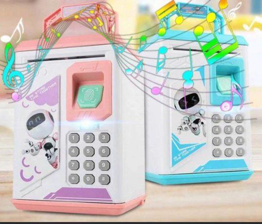 Сейф копилка с кодовым замком и отпечатком пальца и ультрафиолет